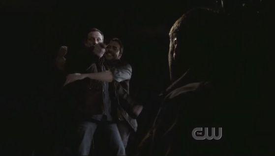John out of Hell grabbing Azazel so Dean can kill him
