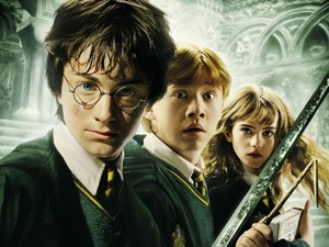 The 3 main characters: (From left to right) Harry, Ron and Hermione. [Image from the 'Chamber of Secrets]