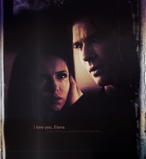 Damon expressing his feelings for her and saying that he loves her...