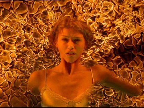 Sam's girlfriend Jessica burning on the ceiling