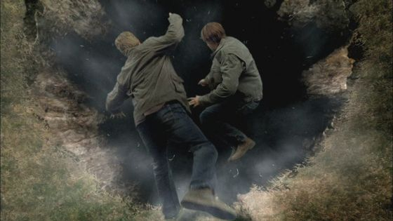 Lucifer/Sam going into the pit with Michael/Adam