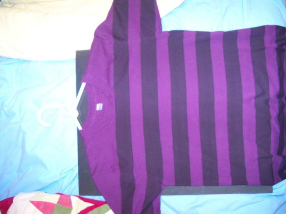 ★ This Is My hemd, shirt I Got From Nick Wiggins This Was His Fave Black & Purple Striped hemd, shirt ★