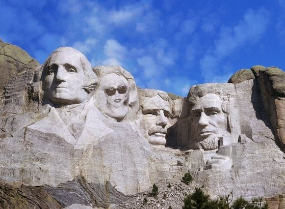 Lady Gaga joins the other great leaders on Mt. Rushmore