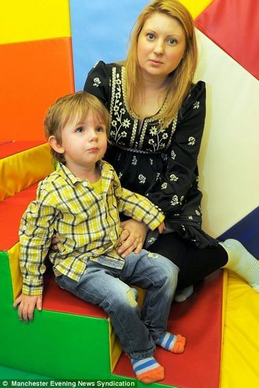 Oscar O'Sullivan-Hughes is pictured with his mother Kate. He has the rare inherited disease Lebers Congenital Amaurosis.