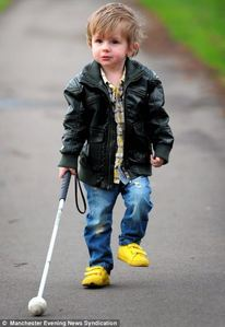 Many people assume Oscar O'Sullivan-Hughes' cane is just a toy and brush past him.