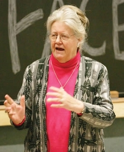 "Peggy McIntosh, author of ""White Privilege: Unpacking the Invisible Knapsack"""
