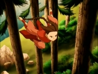 Ty Lee jumping from tree to tree to get Katara.