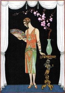 Flapper in House of Worth gown 1925 - note the daring braclets and earrings