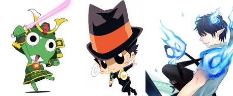 tu should try Katekyo Hitman Reborn!, Blue Exorcist, and Sgt. Frog.