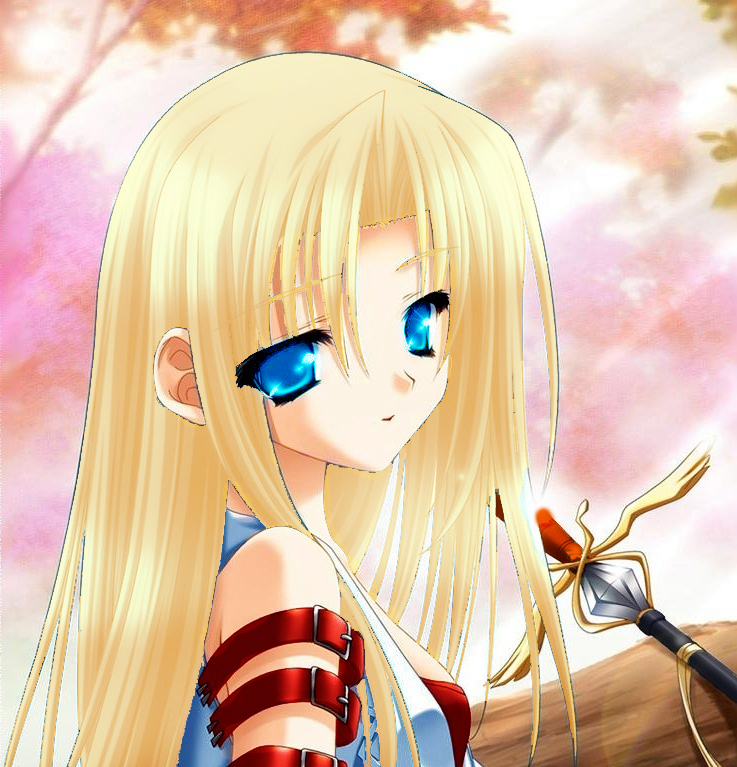 anime girl with blonde hair and blue eyes with sword www