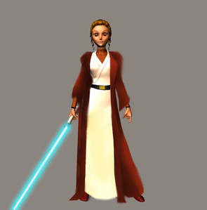 Her name is Thalia Ventoza, a young Jedi padawan under the tutelage of Jedi master Cartheous Camba. S