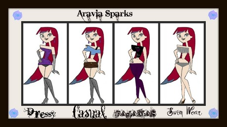 1ST Name: Aravia Middle Name: Rose Last Name: Sparks Age:17 Looks: long red hair with Blue tips