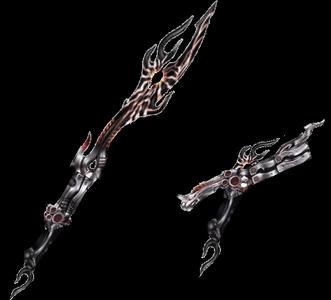 Weapon name: Burēdo jū (blade gun) This weapon starts out as a blood red katana with a grey hilt an