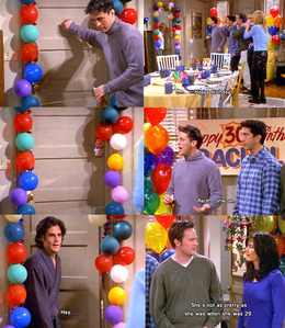 *Joey knocks on door*<br /> Everyone: HAPPY BIRTHDAY!<br /> *Rachel slams door*<br /> Joey: Rach, com