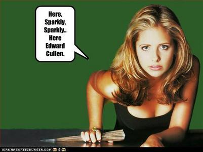hehe Buffy vs. Sparkle puff. Although he isn't a real Vampire so she wouldn't be slaying him.