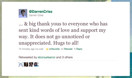 YAY HUGS FROM DARREN CRISS FOR ME :)