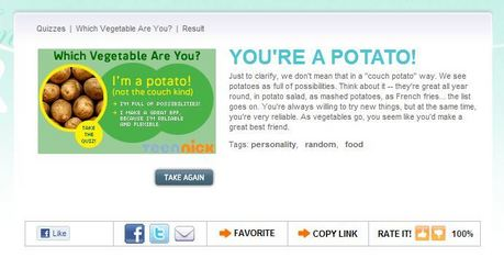 Meh, I guess. Ooooh Best! I took a personality quizz to see what vegetable I was and this is what I go