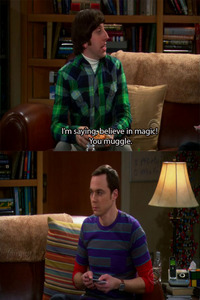 haha thanks haha sheldon cooper is a muggle 哈哈