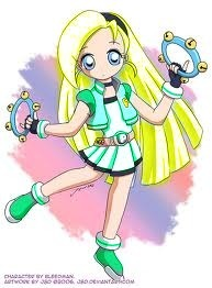 Surename:Mizuki  Other name:Cindy  Gender:Girl  Powerpuff's color:Blue-Green  Weapon:Tambourine Blade