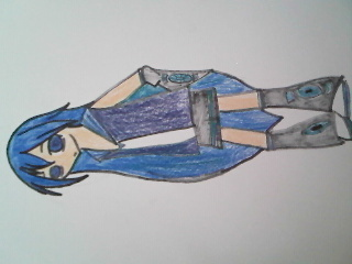 Vocaloid Name: Rynto futatsuno Gender:emale Age:13 Number:22  Hair Color and Style:Blue Eye Color:blu