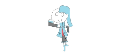 vocaloid name- marini mi gender- female age- 13 number 5 hair color and style blue and big eye color