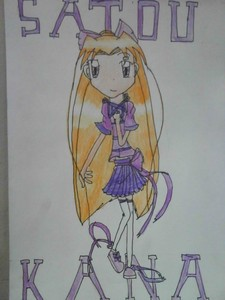 Name: Kana Satou Age: 13 Gender: Female Hair Colour: مالٹا, نارنگی Eye Colour: Purple Personality: Self