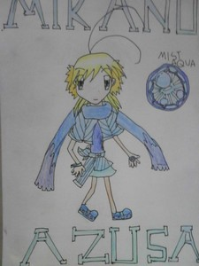 Name: Azusa Mikano Age: 14 (Cursed to didn't grow up) Gender: Female Hair Colour: Yellow Eye Colo