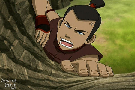 Aang: Sokka get up! I need to know what hari it is! (Aang pulls on Sokka's eyelids and lips in a com