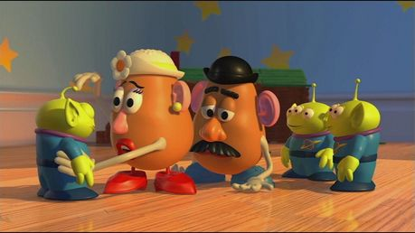 "-""Let's adopt them!"" -""DADDY!"" :D  So next, find a picture from the ending scene of Toy Story 3."