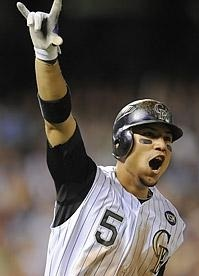 Carlos Gonzalez of the Rockies!:D I loved the way he caught Daniel Murphy's fly ball in the last out!
