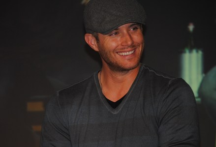 Jensen drinking coffee