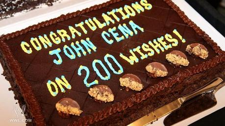 I only could find a picture of a cake that says Congratulations John Cena On 200 Wishes! Next: [b]Joh