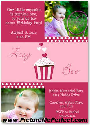 Checkout the most adorable cupcake birthday invitation from Picture Me Perfect.  Too cute!