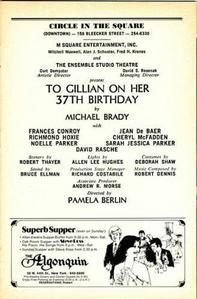 I have a Playbill theatre program from the New York production of To Gillian on Her 37th Birthday (19