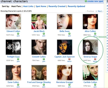 Here's a screencap of the 상단, 맨 위로 fanbases for characters... According to this; Severus is the character