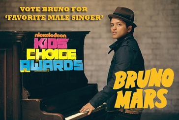 Everyone go vote for Bruno Mars for yêu thích Male Singer for the 2011 Kids' Choice Awards!! bạn have