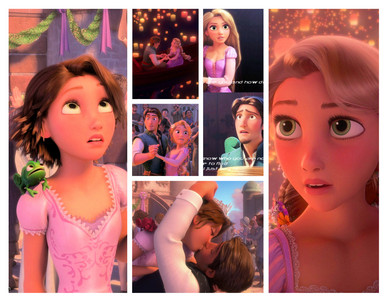 Rapunzel look very different when she has brown hair I actually thought it wasn't her at all in t