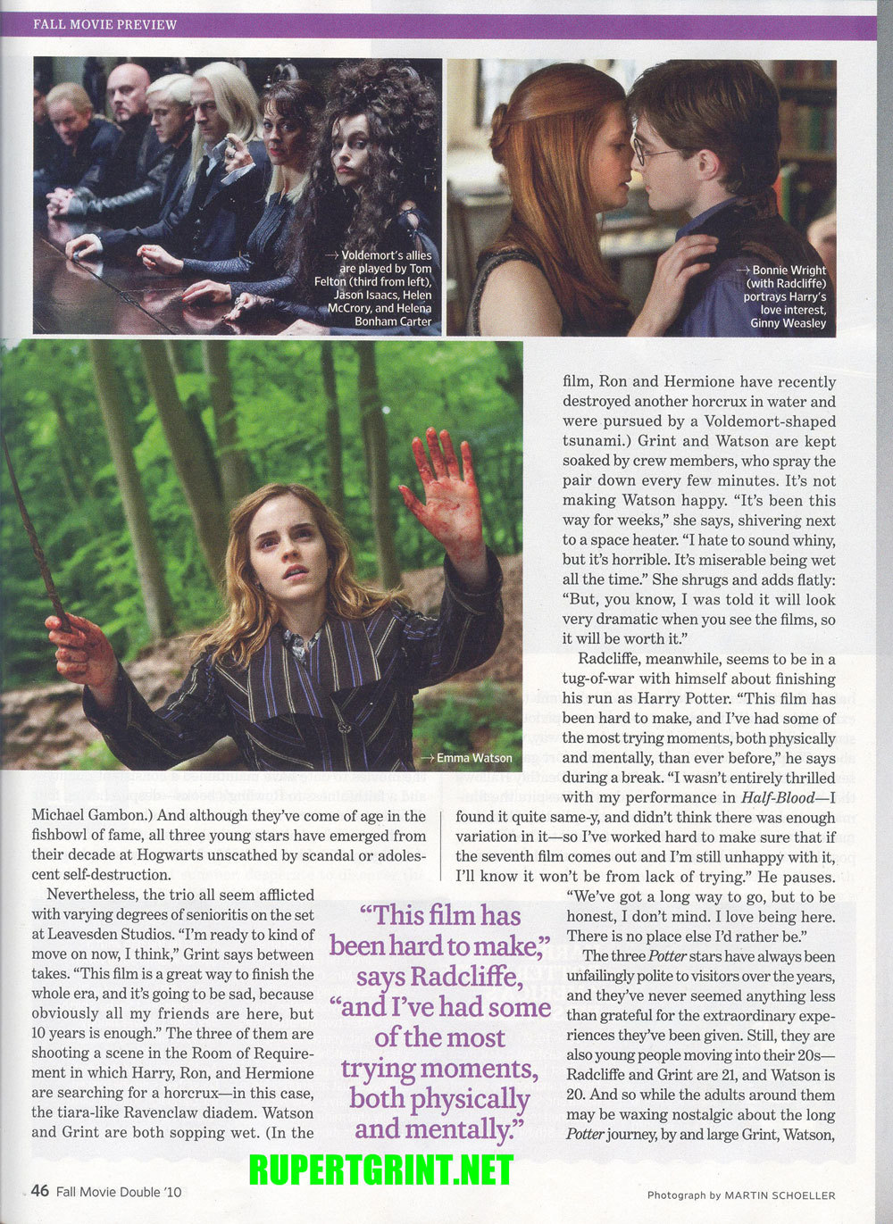 Emma as Hermione on Entertainment Weekly