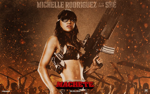 Michelle Rodriguez Hintergrund titled Michelle as She in Machete