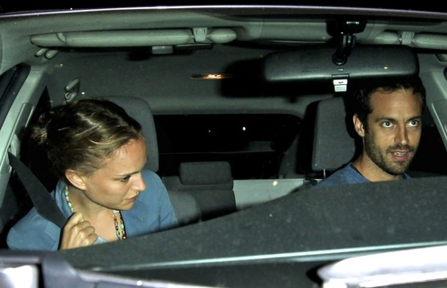 Natalie and Benjamin Millepied leaving Angelini Osteria restaurant