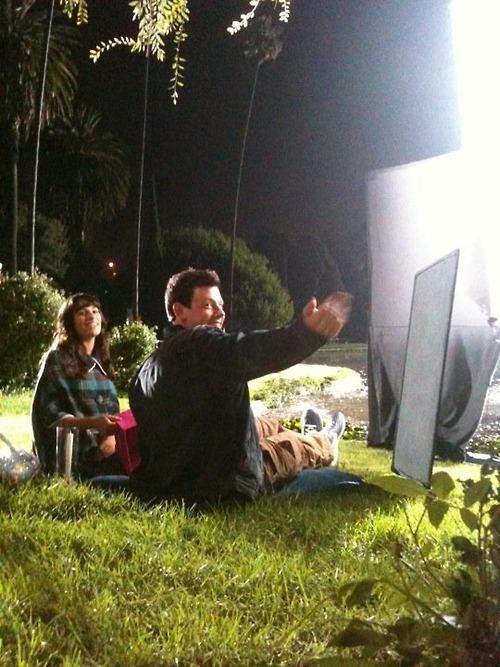Behind the scenes  - glee photo