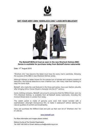 Belstaff's Sherlock کوٹ