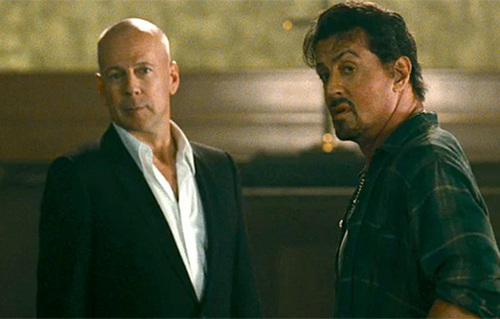 Bruce Willis & Sylvester Stallone in The Expendables