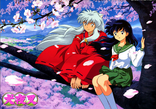 InuYasha and Kagome under a cerise arbre
