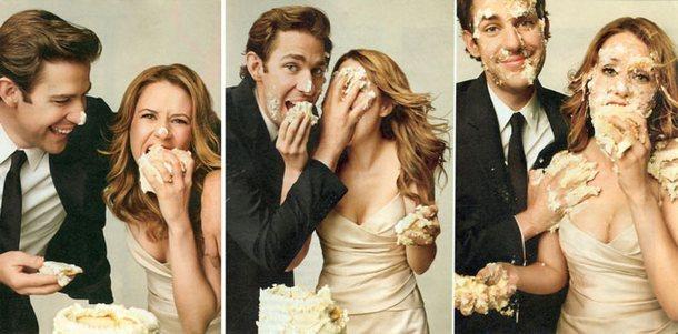 John and Jenna office wedding cake fight