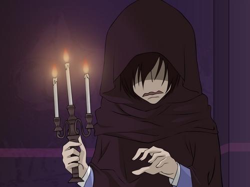 Umehito holding candlesticks