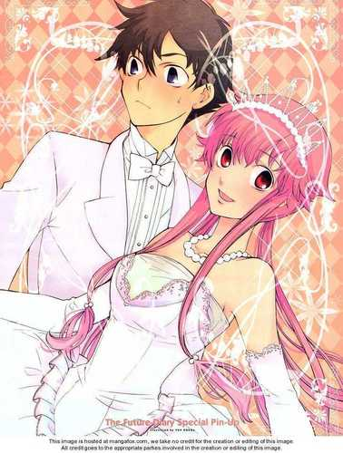 mirai nikki kertas dinding entitled yuki x yuno wedding