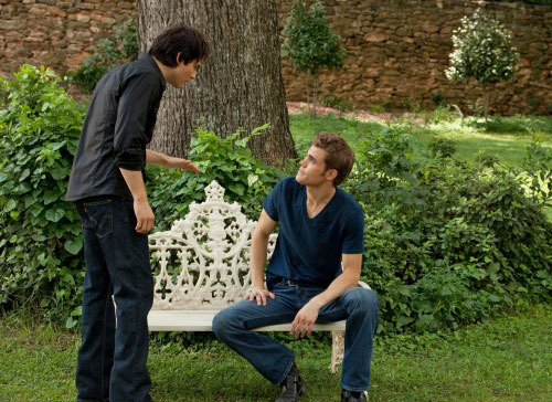 Vampire Diaries karatasi la kupamba ukuta entitled Damon and Stefan in The Vampire Diaries season 2