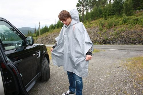 Alex wearing a poncho