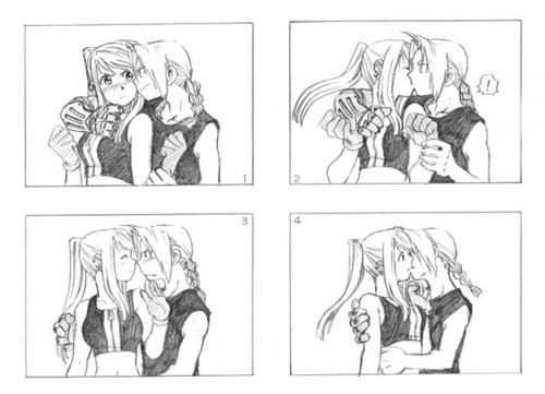 Edward Elric and Winry Rockbell Hintergrund entitled Ed KISS Winry 2